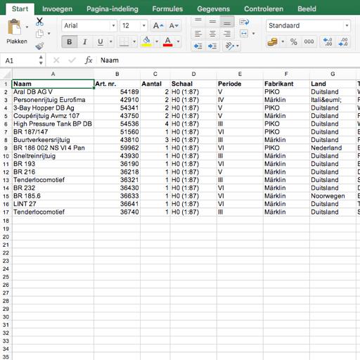 Exporteer modeltrein verzameling naar Excel