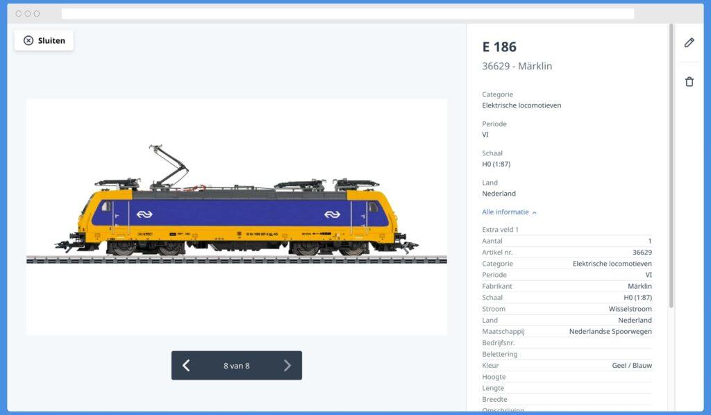 Modeltrein met alle informatie in Object Viewer in Yard Tower