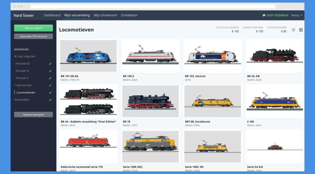 Modeltreinen database met afbeeldingen